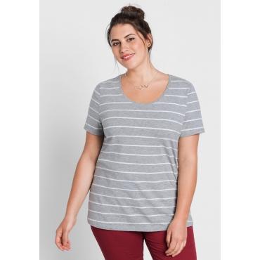 BASIC T-Shirt mit garngefärbten Ringeln, grau meliert, Gr.44/46-56/58