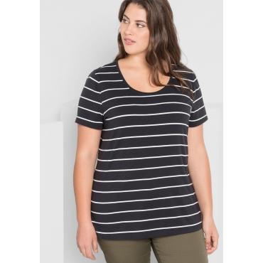 BASIC T-Shirt mit garngefärbten Ringeln, schwarz, Gr.44/46-56/58