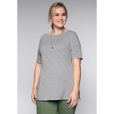 BASIC T-Shirt mit gestickter Wellenkante, hellgrau meliert, Gr.44/46-56/58