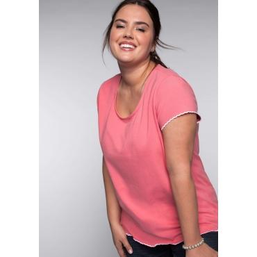 BASIC T-Shirt mit gestickter Wellenkante, korallrot, Gr.44/46-56/58