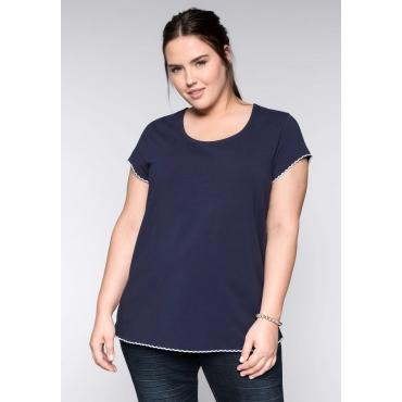 BASIC T-Shirt mit gestickter Wellenkante, marine, Gr.44/46-56/58
