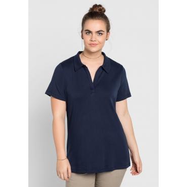 BASIC T-Shirt mit Polokragen, marine, Gr.40/42-56/58