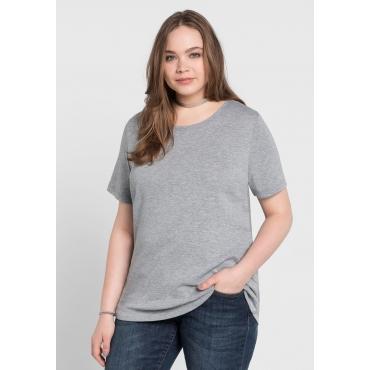 BASIC T-Shirt mit rundem Ausschnitt, grau meliert, Gr.40/42-56/58