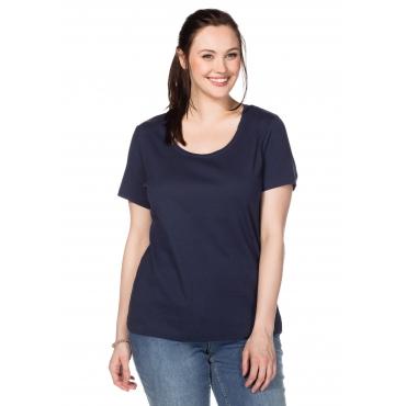 BASIC T-Shirt mit Rundhalsausschnitt, marine, Gr.40/42-56/58
