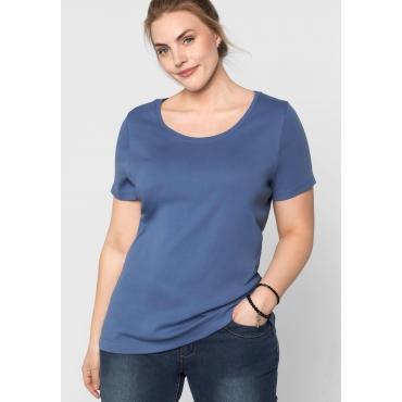 BASIC T-Shirt mit Rundhalsausschnitt, rauchblau, Gr.44/46-56/58