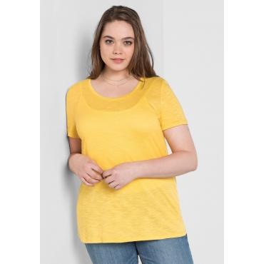 BASIC T-Shirt mit Rundhalsausschnitt, sonnengelb, Gr.40/42-56/58