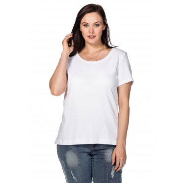 BASIC T-Shirt mit Rundhalsausschnitt, weiß, Gr.40/42-56/58