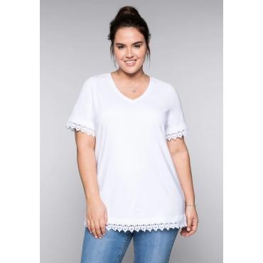 BASIC T-Shirt mit Spitze und V-Ausschnitt, weiß, Gr.44/46-56/58