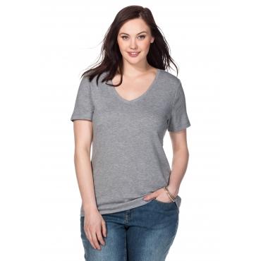 BASIC T-Shirt mit V-Ausschnitt, grau meliert, Gr.40/42-56/58