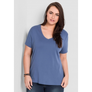 BASIC T-Shirt mit V-Ausschnitt, rauchblau, Gr.44/46-56/58