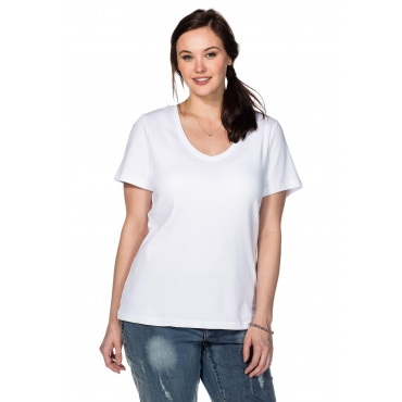 BASIC T-Shirt mit V-Ausschnitt, weiß, Gr.40/42-56/58