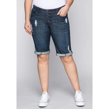 Bermuda Stretch-Jeans im Used-Look, dark blue Denim, Gr.44-58