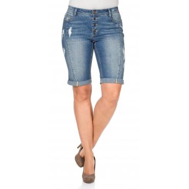 Bermuda Stretch-Jeans im Used-Look, light blue Denim, Gr.40-58