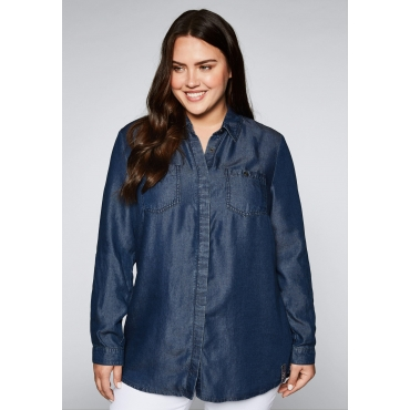 Bluse aus fließendem Lyocell in Denimoptik, dark blue Denim, Gr.44-58