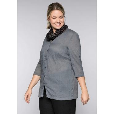 Bluse in gecrinkelter Qualität mit Loopschal, rauchgrau, Gr.44-58