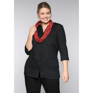 Bluse in gecrinkelter Qualität mit Loopschal, schwarz, Gr.44-58