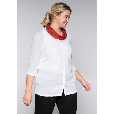 Bluse in gecrinkelter Qualität mit Loopschal, weiß, Gr.44-58