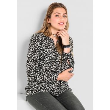 Bluse mit floralem Alloverdruck, schwarz bedruckt, Gr.40-58