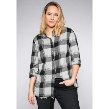 Bluse mit Fransen und Hemdkragen, schwarz, Gr.44-58