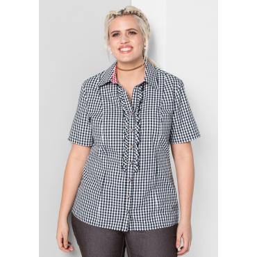 Bluse mit Karomuster im Trachtenlook, schwarz-weiß, Gr.44-58