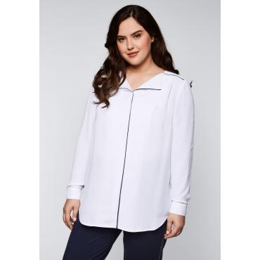 Bluse mit Kontrastpiping und leichter Kräuselung, weiß, Gr.44-58