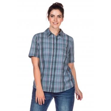 Bluse mit Krempelärmeln und Knopfleiste, hellblau gemustert, Gr.40/42-56/58