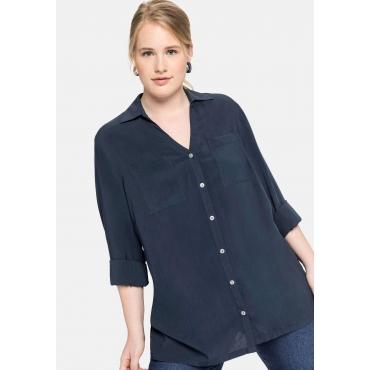 Bluse mit V-Ausschnitt und Brusttaschen, nachtblau, Gr.40-58
