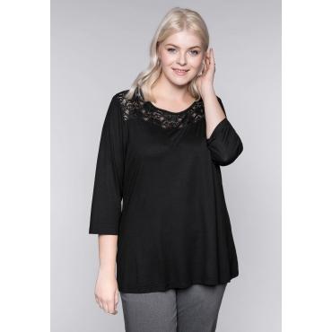 Bodyforming-Shirt mit Spitze und 3/4-Ärmeln, schwarz, Gr.44/46-56/58