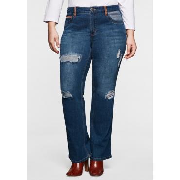 Bootcut-Jeans mit Destroyed-Effekten und Catfaces, dark blue Denim, Gr.40-58