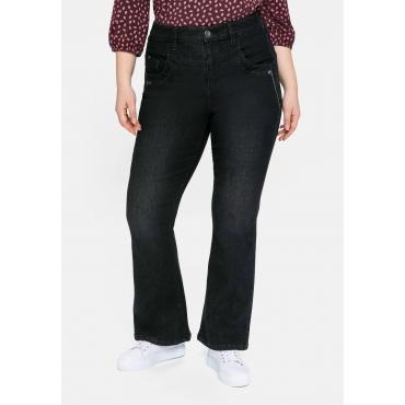 Bootcut Jeans mit High-Waist-Bund und Stickerei, black Denim, Gr.40-58