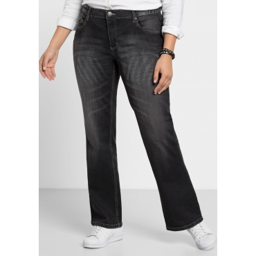 Bootcut-Stretch-Jeans MAILA, black Denim, Gr.21-104