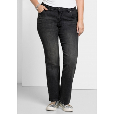 Bootcut-Stretch-Jeans MAILA, black Denim, Gr.21-116