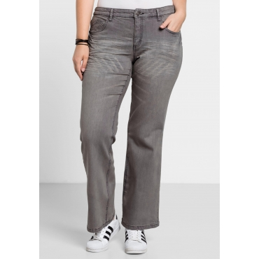 Bootcut-Stretch-Jeans MAILA, grey Denim, Gr.21-104