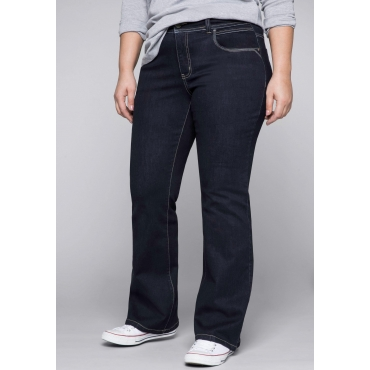 Bootcut-Jeans mit kontrastfarbenen Nähten, dark blue Denim, Gr.44-58