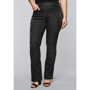 Bootcut Stretch-Jeans MAILA mit Pailletten, black Denim, Gr.44-58