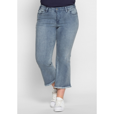 Bootcut-Stretch-Jeans mit Fransen, light blue Denim, Gr.40-58
