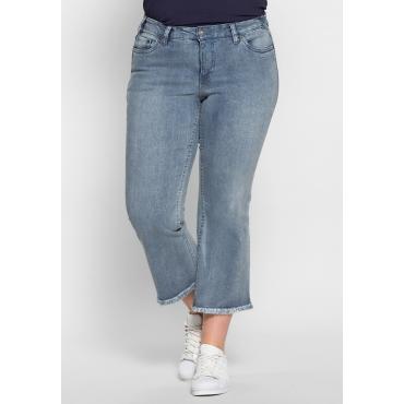 Bootcut-Stretch-Jeans mit Fransen, light blue Denim, Gr.40-58