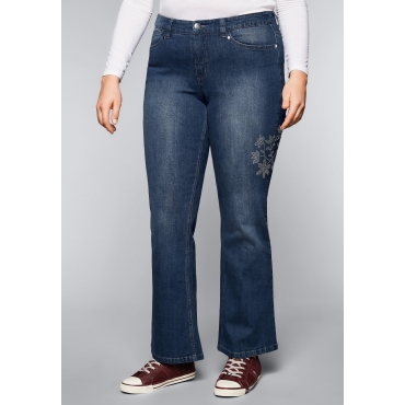 Bootcut-Stretch-Jeans mit Glitzersteinen, dark blue Denim, Gr.44-58