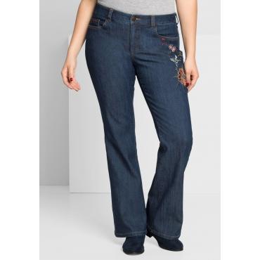 Bootcut-Stretch-Jeans mit Stickerei, dark blue Denim, Gr.44-58