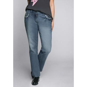 Bootcut-Stretch-Jeans mit Used-Waschung, blue Denim, Gr.44-58