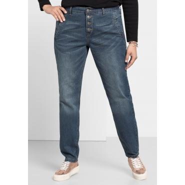Boyfriend Stretch-Jeans mit Knopfleiste, blue Denim, Gr.40-58