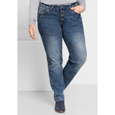 Boyfriend Stretch-Jeans mit Stickerei, blue Denim, Gr.44-58
