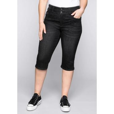 Capri-Stretch-Jeans mit hohem Bund, black Denim, Gr.44-58