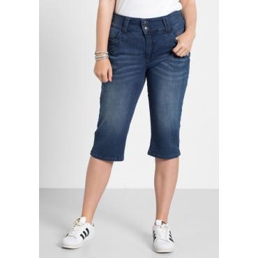 Capri-Stretch-Jeans mit hohem Bund, blue Denim, Gr.40-58