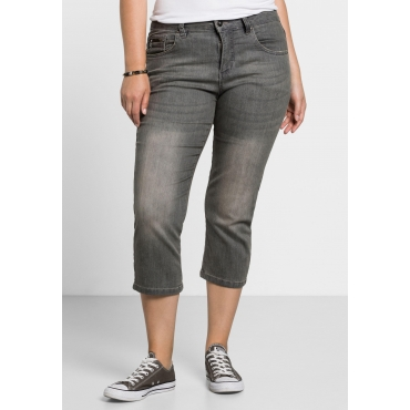 Capri-Stretch-Jeans mit individuellen Used-Effekten, grey Denim, Gr.40-58