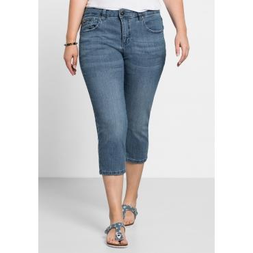 Capri-Stretch-Jeans mit individuellen Used-Effekten, light blue Denim, Gr.40-58