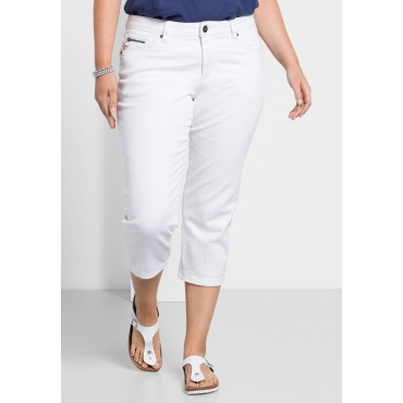 Capri-Stretch-Jeans mit individuellen Used-Effekten, white Denim, Gr.40-58