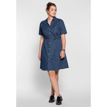 Denim-Kleid in Hemdblusenform, blue Denim, Gr.40-58