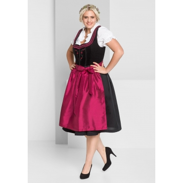 Dirndl mit Schürze und Bluse 3tlg., schwarz-rot, Gr.44-58