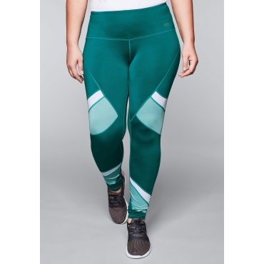Funktionsleggings mit Colourblocking, smaragd, Gr.44-58